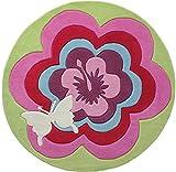 ESPRIT Fantasy Flower Moderner Markenteppich, Acryl, Rosa, 100 x 100 x 1 cm