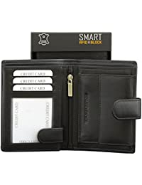 RFID Wallet - Contactless Card Protection - Black Genuine Cow Leather Picasso SMART RFID BLOCK collection - TUV TESTED & CERTIFIED by KORUMA (SM-904PBL)