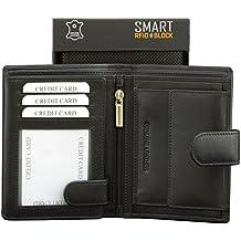 Cartera de RFID NFC - Protección de tarjeta sin contacto - Negro Cuero de vaca genuino Picasso Colección de diseñador SMART RFID BLOCK - TUV Probado y certificado por KORUMA (SM-904PBL)