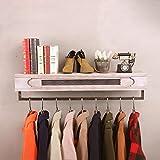 SH-qiang Kleiderständer Bekleidungsgeschäft Kleiderständer aus Holz Retro-Eisen Wandmontierte Hängeständer Regalböden Wandgarderobe (Größe : 80cm)