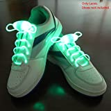 Enem LED Light Up Shoelaces- High Visibility Flashing for Night Running Biking, Clubbing, Rave, Birthday, Disco, Hip-hop Dancing, and Dubstep Party-(01 Pair)-Green
