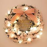 Unbekannt Xmas Weihnachtskranz Weihnachten Weihnachtsdeko Türkranz Kranz Weihnachtsgirlande Garland Deko-Kranz Girlande Ø 40CM mit 20 warm weißen LED, batteriebetrieben