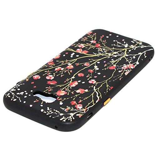 Linvei Samsung Galaxy A5(2017) Etui Cuir Coque,[Conception de motif coloré][PU Cuir Housse][Portefeuille Flip][Stand soutien/Card Slot /fermeture magnétique]-Plante tropicale verte Design de fleurs rouges