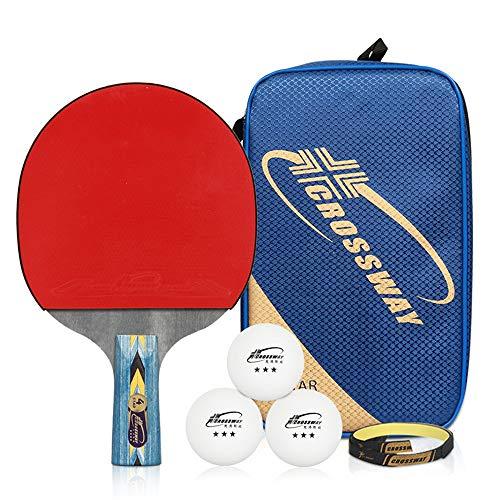 Professionelles Tischtennisschlägerset, rutschfester Griff, doppelseitige Gummihülse, hochelastischer Schläger, tragbarer Trainings- / Wettkampf-Tischtennisschläger, die beste Ausrüstung für Anfänge