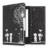 kwmobile Hülle für Tolino Shine 2 HD - Flipcover Case eReader Schutzhülle - Bookstyle Klapphülle Pusteblume Love Design Weiß Schwarz