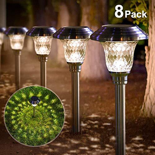 8 pezzi Luci Solari Giardino Esterno Torce Solari acciaio inossidabile Luci A LED Giardino Impermeabile Faretti Per Patio Vialetto Ponte Cortile Viale Decorazione Di Illuminazione Di Nozz