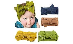 Bebamour - Diadema elástica de algodón para bebé y niña, para bebés de 0 a 24 meses