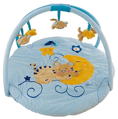 Bieco 17000000 Baby Activity Erlebnisdecke Mia mit Spielbogen, Durchmesser circa 90 cm, blau
