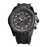 Globenfeld |Montre chronographe pour homme | Montre de sport avec chronomètre et aiguilles lumineuses pour les minutes et secondes | Verre robuste et anti-rayure