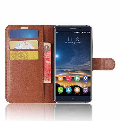 Tasche für Oukitel K6000 Pro Hülle, Ycloud PU Kunstleder Ledertasche Flip Cover Wallet Case Handyhülle mit Stand Function Credit Card Slots Bookstyle Purse Design braun