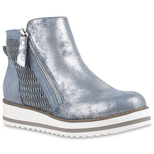 Damen Chelsea Boots Lack Glitzer Profilsohle Stiefeletten Schuhe Hellblau Strick