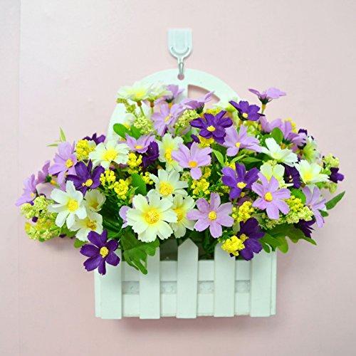 ALLDOLWEGE Personnalisé simple émulation menuiserie plastique en pot en pot pot de fleurs d'émulation de dans le mur lumière jardin exquis decorationThatWhite kit violet +Hook