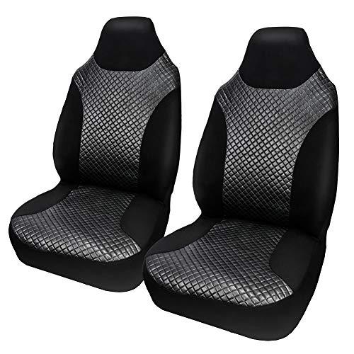 Auto Doppel-Vordersitz-Abdeckung schwarz gesteppte rhombische PU-Sitz-Schutz Sitzzubehör