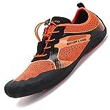 Pastaza Badeschuhe Herren Geschlossen Barfußschuhe Damen Schnell Trocknend Wasserschuhe Rutschfest Weich Outdoor Fitness Schuhe (45 EU, Orange)