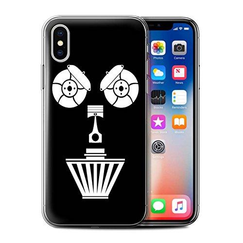 Stuff4 Gel TPU Hülle / Case für Apple iPhone X/10 / Turbo/Red Muster / Autoteile Gesichter Kollektion Luftfilter
