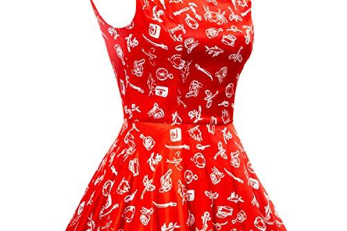 LUOUSE Vintage sans manches Motif classique inspiré ANNÉES 50 Rockabilly Pinup Swing Vintage Robe de Cocktail , Robe de soirée cocktail Rouge