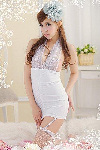 Shangrui Femmes Temptation Doux Satin Pyjamas Larges Bretelles Dentelle Lingerie W179 Blanc