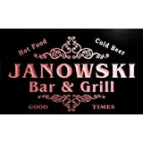 u21915-r JANOWSKI Family Name Bar & Grill Home Beer Food Neon Sign Barlicht Neonlicht Lichtwerbung