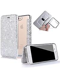 Sycode - Funda con tapa para iPhone 8 (silicona, carcasa de protección completa para iPhone 8 y 7 de 4,7 pulgadas), color dorado y rosa, plateado