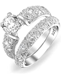 Bling Jewelry 1.5ct Runde Silver CZ filigrane Hochzeit Engagement Ring Set