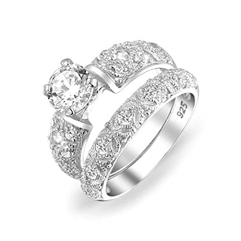 Bling Jewelry 15Ct Round Silver Filigree CZ Mariage Engagement Ring Set