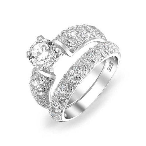 Vintage-Stil 1 Ct Runde Solitär Filigrane Aaa Cz Verlobung Ehering Ring Set Für Damen 925 Sterling Silber