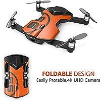 Koeoep S6 Mini RC Drone con cámara FPV WiFi RC 4K Edición al aire libre Quadcopter (naranja fresca)