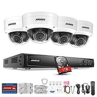 Annke 8CH 1080P PoE HD NVR 1TB Festplatte Videoüberwachung H.264+ Überwachungssystem mit 4 x2.0MP IP Überwachungskameras Plus kompatibel mit IP Kamera Onvif Kamera
