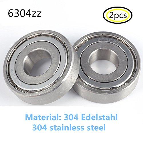 Preisvergleich Produktbild 6304Z S6304 6304ZZ lager 304 Edelstahl Rillenlager Miniaturlagern 20x52x15mm ball bearing 2-Pcs
