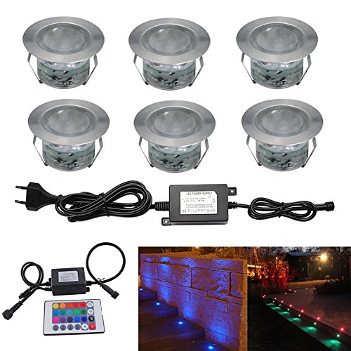 6pcs Ø45mm Luz LED Foco empotrable al Aire Libre 1W IP67 Impermeable...