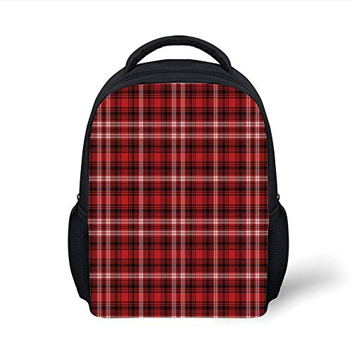 Kids School Backpack Red Plaid,Quilt Squares Rectangles Flannel Pattern Geometric Inspirations Abstract,Red Black White Plain Bookbag Travel Daypack -