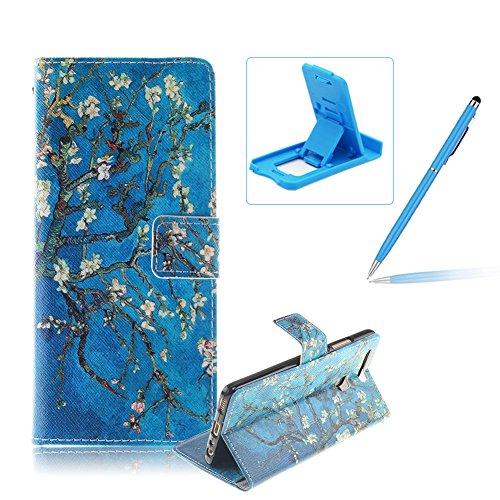 Huawei P9 Funda de cuero billetera,Herzzer Huawei P9 alta calidad la cubierta del estilo del libro,[Modelo colorido] Magnética Cubierta de la caja Funda protectora de TPU interior suave con Stand Función y Imán y ranuras para tarjetas de crédito para Huawei P9 + 1 x Azul de la célula Teléfono pata de cabra + 1 x Azul Lápiz óptico - Rama de árbol