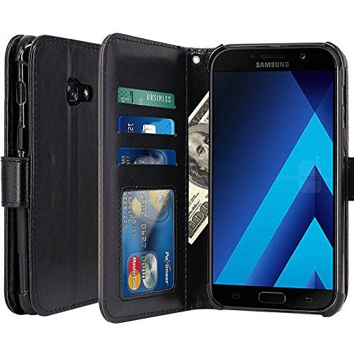 Galaxy A7 2017 Hülle, LK Luxus PU Leder Brieftasche Flip Case Cover Schütz Hülle Abdeckung Ledertasche für Samsung Galaxy A7 2017 (Schwarz)