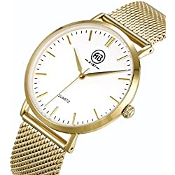 AIBI Wasserdicht Herren-Armbanduhr Analog Quarz Mesh Gold/Weiss AB50803/3