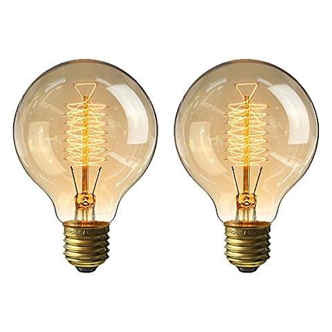 KINGSO 2x Vintage Retro Edison Glühbirne Globe Glühlampe (40W, E27, 220V) Warmweiß Filament Fadenlampe Ideal (Illuminazione Decorativa A Sospensione Illuminazione)