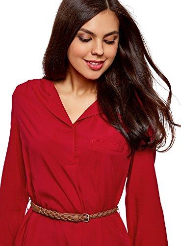 oodji Ultra Damen Jerseykleid mit Gürtel Rot (4500N)