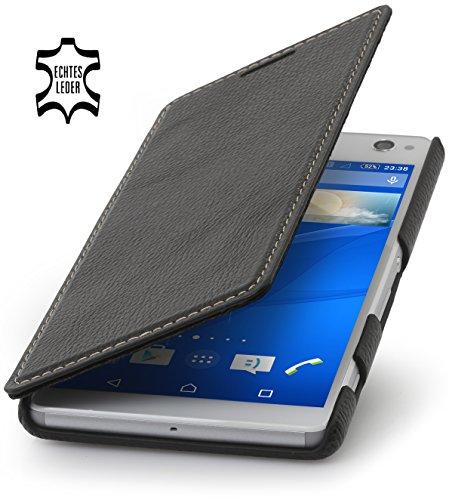 StilGut Book Type Case ohne Clip, Hülle aus Leder für Sony Xperia C4, schwarz