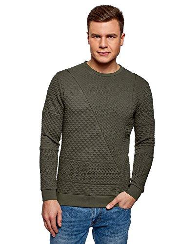 oodji Ultra Herren Sweatshirt aus Strukturiertem Stoff mit Schrägen Nähten Braun (6600N)