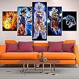 5 Panels Wandkunst Dragon Ball Goku Vegeta Leinwanddrucke Bild auf Leinwand Gerahmt Fertig zum Aufhängen für Zuhause Wand Dekoration Kunstwerk Schlafzimmer Büro,A,40x60x2+40x80x2+40x100cmx1