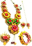 #5: Floret Jewellery Gota Patti Set With Pink Flowers And Pearl