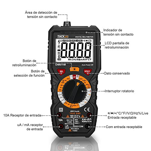 Tacklife DM01M Multímetro Digital profesional 6000 counts,  1000V TRUE RMS Rango Automático Voltímetro con NCV y LIVE,  Polimetro mide voltaje y corriente,  Ohmímetro continuidad con LCD Retroiluminada