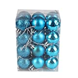 Dragon868 24pcs 3CM Christmas Decorations Baubles Xmas Tree Ball Bauble Hanging Home Party Ornament Decor (Sky Blue)