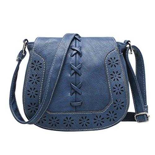GSPStyle Damen Handtasche Schultertasche Umhängetaschen Durchlöchernde Design Damentasche Dunkelblau