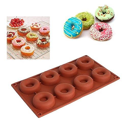 Dairyshop 1pièce 8cavités Moule à gâteau en silicone, Donut Muffins Cake Moule Bague Biscuit Moule