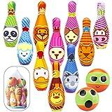 Kinder Bowling Set, Kegelspiel für Kinder Bowlingkugel Kegel Drinnen Draußen Spielzeug Geschenke Kinder ab 3 4 5 Jahren (10 kegel und 2 Bälle in netzbeutel)