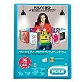 Elba - 100206231 - Polyvision Protège-Documents Personnalisable 80 Vues Polypropylène Translucide A4 Bleu