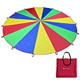 Voilamart Kids Play Parachute, 20FT Play Tents Children Game, 210T Rainbow Outdoor Game, Party Sports Activities Group Exercise for Child