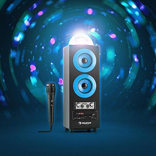 auna DiscoStar Blue • 2.1 Bluetooth-Lautsprecher • Radio • UKW-Radiotuner • 30 Speicherplätze • MP3 • SD • USB • Mini-USB • AUX • Mikrofon • LED-Lichteffekt • Akku • tragbar • blau - 3
