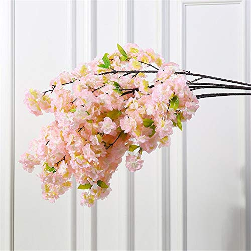 Licxcx Blumen Künstliche Blume Kirschblütenbaum Rebewanddekoration Wohnzimmer gefälschte Blume Rattandecke Plastikzweig künstliche Blume, Kirschblütenchampagner ohne Zaun