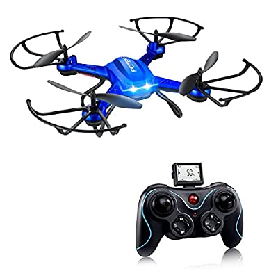 Drone, Potensic F181A 2.4G 4CH 6Axis RC Quadcopter Drone RTF Altitude Hold with Newest Hover Headless Mode and 3D Flips Function - Blue